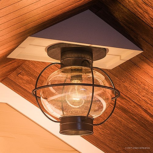 Luxury Nautical Outdoor Ceiling Light, Small Size: 10.5''H x 11.5''W, with Art Deco Style Elements, Cage Design, Bold Tawny Bronze Finish and Seeded Glass, UQL1033 by Urban Ambiance by Urban Ambiance