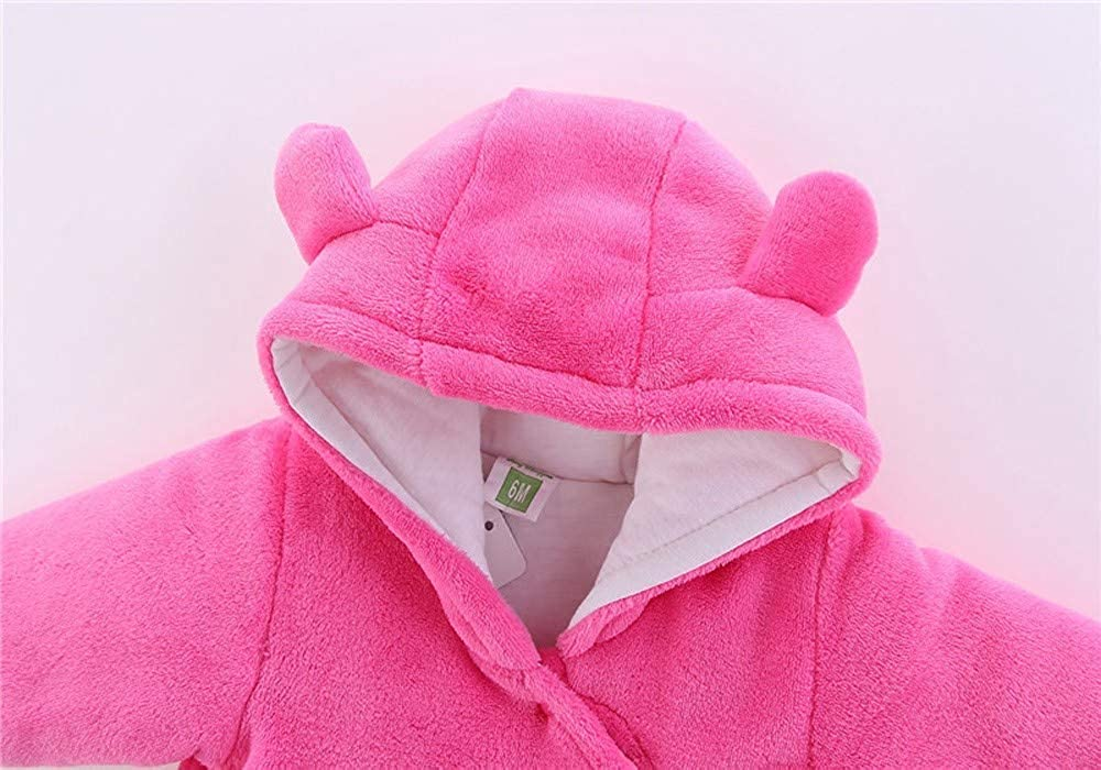 0-24 Months Baby Girl Boy Winter Warm Hooded Romper Pajamas Solid Cartoon Cat Plus Thick Velvet Jumpsuit