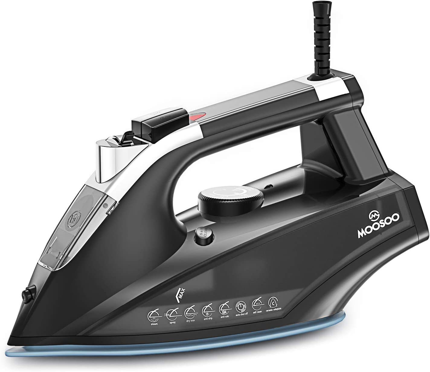 MOOSOO Steam Iron 1800W, Small Lightweight Portable Steam-Dry Iron for Clothes, Non-Stick Soleplate Home Steam Iron, Anti-drip Iron with Auto-Off, Steam Control System, 470mL Water Tank
