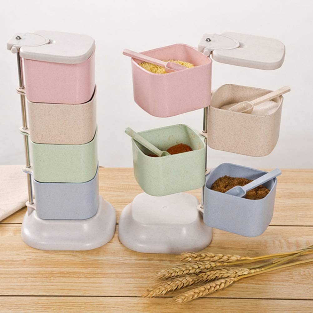 Rotatable Seasoning Box Wheat straw seasoning pot for kitchen 4 Compartments vertical rotating Condiment Pots Household Kitchenware