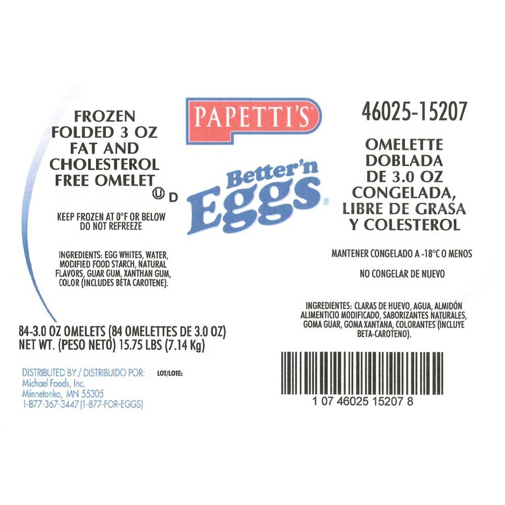 Michael Foods Papettis Express Better and Egg Omelette, 3 Ounce - 84 per case.