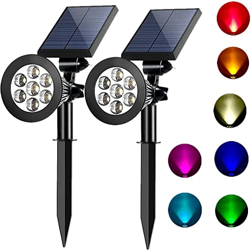 Sunklly Solar Spot Lights Outdoor 2-in-1 Colored Adjustable 7 LED Waterproof Security Tree Solar Spotlights Lawn Step Walkway Garden Changing Fixed Color 2 Pack