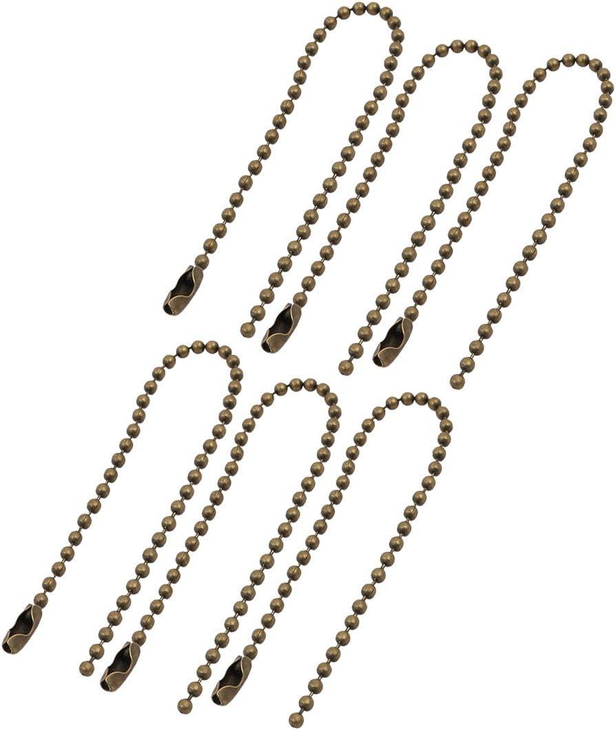 X-Dr 6 piezas de metal chapado en hierro corchete bola cadena llavero tono bronce 2.4 mm de diámetro. 15 cm de longitud (6cfb5a00a422ce2d91c5e60116564f7e)