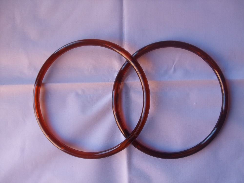1 Pair of Round Plastic Bag Handles - Amber Coloured - 13cm Diameter Crafty Things
