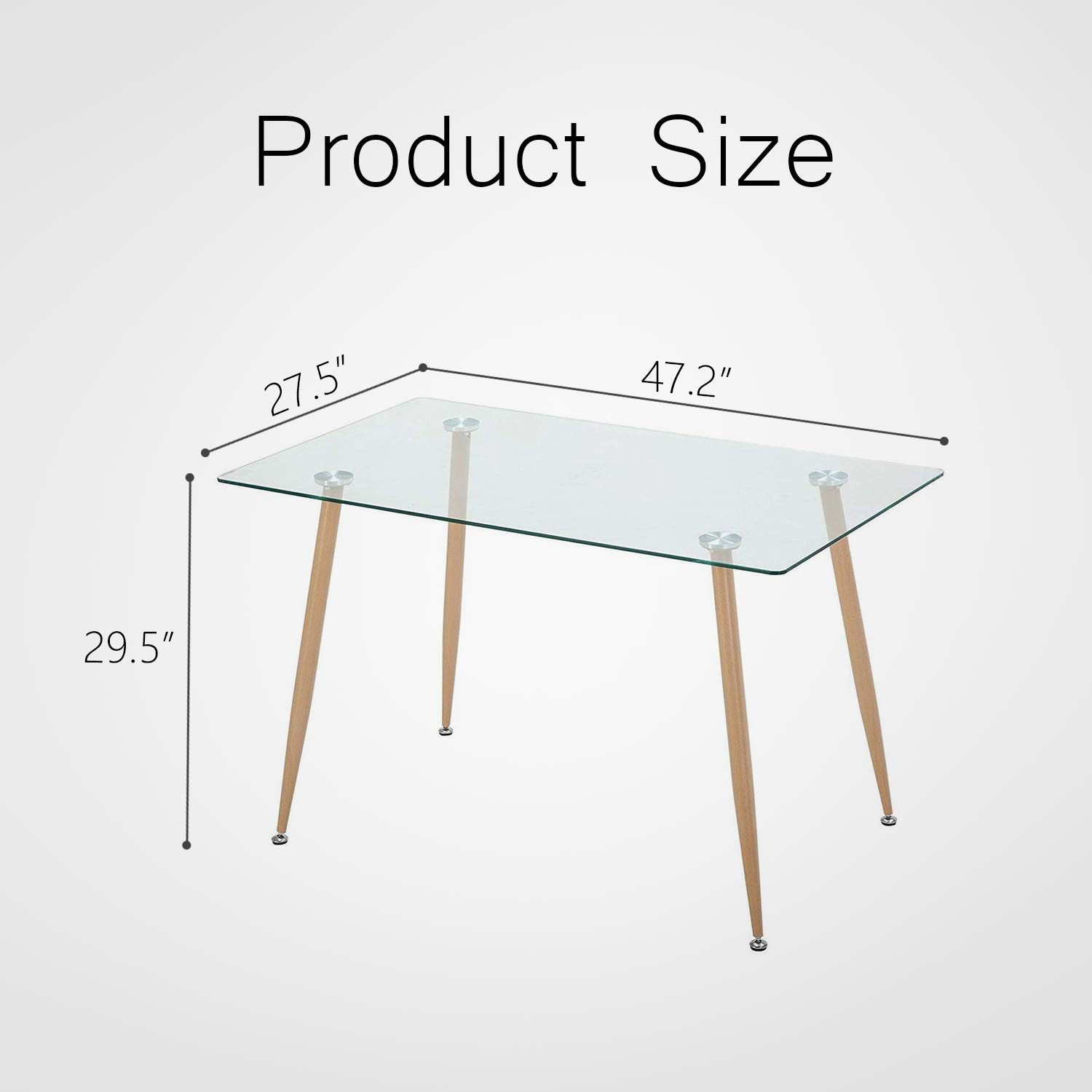 Mecor Dining Table Glass Top and Wooden Look Leg Modern Kitchen Table Rectangular by Mecor (Image #7)