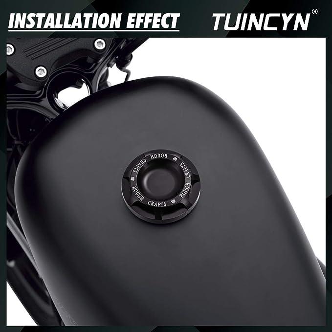 Tuincyn Schwarz Motorrad Aluminium Fuel Gas Oil Cap Rough Crafts Dekorative Kappe Abdeckung Für Harley Sportster Xl1200 883 1996 2014 1 Stücke Auto