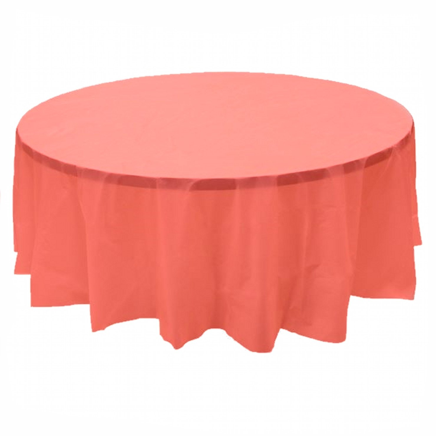 24 pcs (1 case) of Plastic Heavy Duty Premium Round tablecloths 84'' Diameter Table Cover - Coral