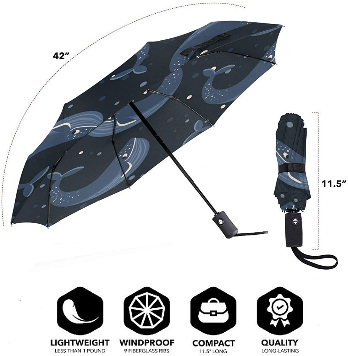 Dark Blue Whale Is Dancing Compact Travel Umbrella Windproof Reinforced Canopy 8 Ribs Umbrella Auto Open And Close Button Personalized