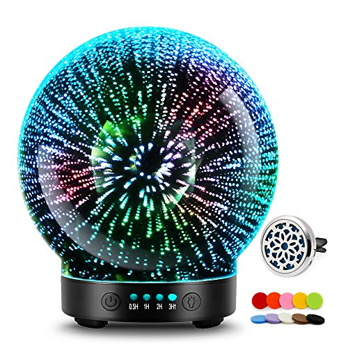 3D Glass Aromatherapy Essential Oil Diffuser - Newest Version fragrance oil Humidifier, 7 LED Color lighting modes firework theme, Premium Ultrasonic mist, Auto-Off Safety Switch (Black)