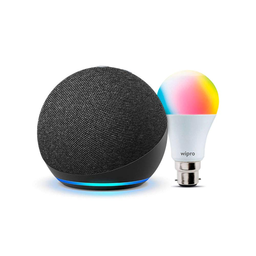 Echo Dot (4th Gen, Black) Combo with Wipro 9W LED