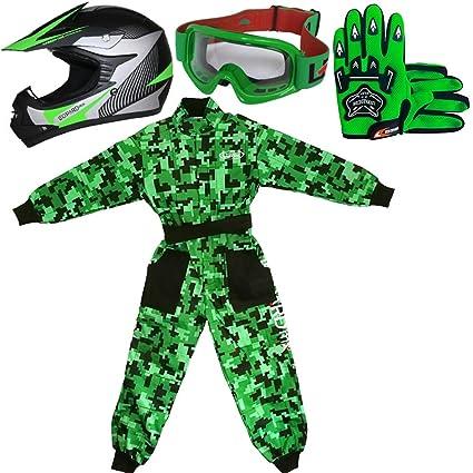 Leopard LEO-X19 Verde Casco de Motocross para Niños (M 51-52cm) + Gafas + Guantes (M 6cm) + Camo Traje de Motocross para Niños - XS (3-4 Años)