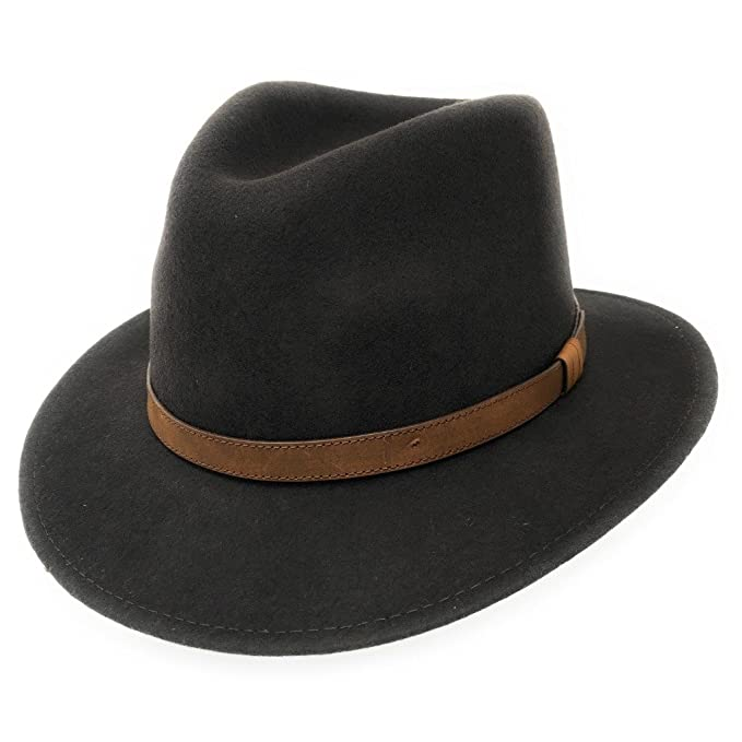 d6b4b35ec835 Cotswold Country Hats Fedora Hat Mens Wool Felt Crushable with Faux Leather  Band - Mixed Colours