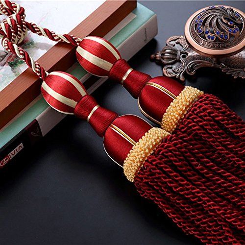 Tie Backs Cord (LANGUGU One Pair Window Curtain Tie Back Tassel Braided Curtain Cord Window reatments Home Decor (RED))