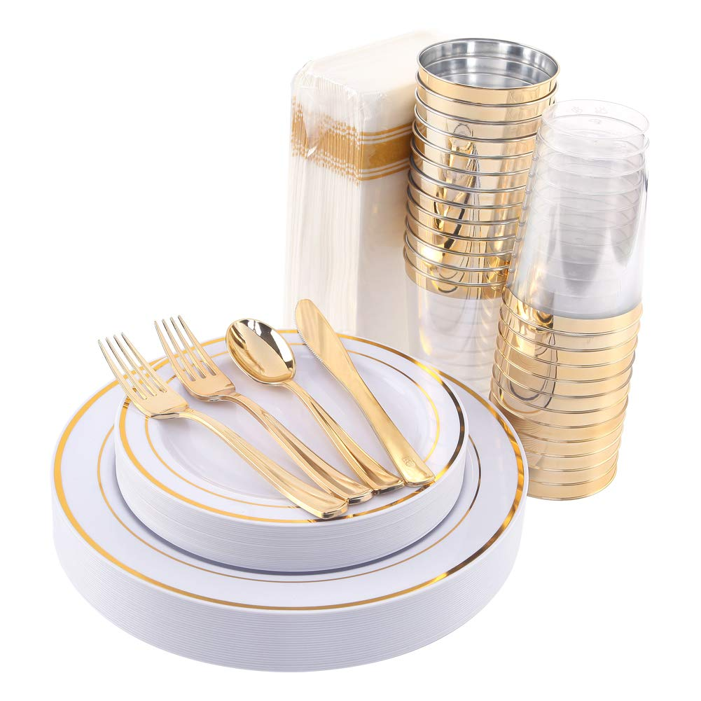200 pieces Gold Plastic Plates, Gold Plastic Silverware, Gold Plastic Cups, Linen Like Paper Napkins, Gold Plastic Flatware, Enjoylife (Gold 200)
