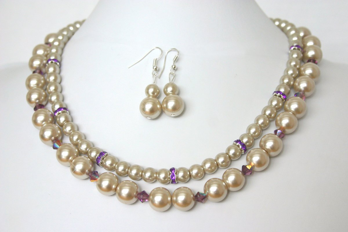 Amazon Com Champagne Pearl Bridal Jewelry Bridesmaid Necklace