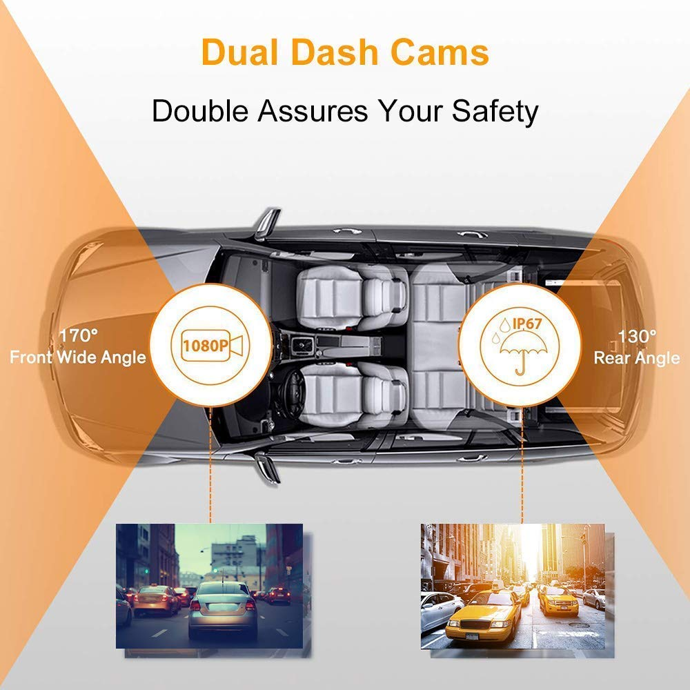 Loop Recording 170/° Wide Angle Claoner FHD 1080P Backup Car Camera with Night Vision Motion Detection 3 Inch IPS Screen Dash Cam Front and Rear with SD Card G-Sensor 32G Parking Monitor