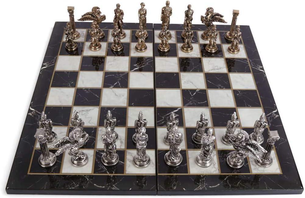 GiftHome - Juego de ajedrez mitológico de Metal para Adultos, Piezas Hechas a Mano y Tablero de ajedrez de Madera con diseño de mármol, tamaño King 3.35inc: Amazon.es: Hogar