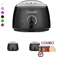 GreenLife® Hair Removal Wax Warmer/Hair Removal Wax Warmer Kit with 5 Flavors Hard Wax Beans and 20 Wax Applicator Sticks(Wax Warmer Kits, Black)