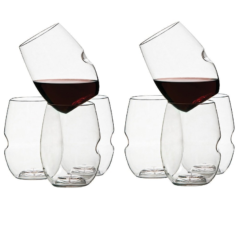 Govino Go Anywhere Dishwasher Safe Flexible Shatterproof Recyclable Wine Glasses, 16-ounce, Set of 8