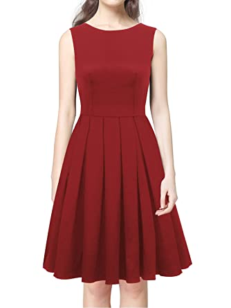 a5ff3b728e1 Amazon.com  LUOUSE  Lana  Vintage 1950 s Inspired Rockabilly Swing Dress  Wine Red Small  Clothing