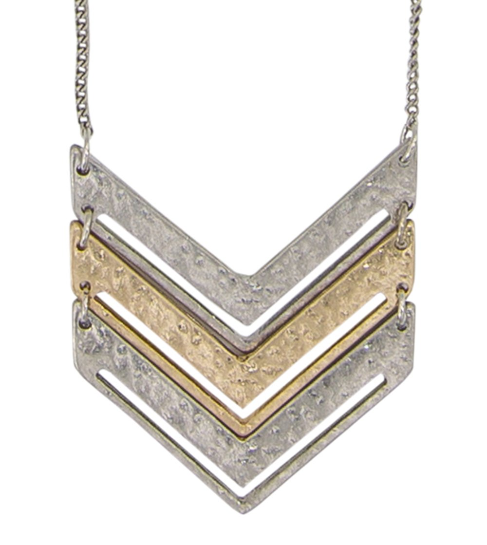 SPUNKYsoul Chevron Necklace (Silver Chain Mixed Medal)
