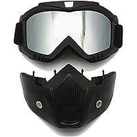 EnzoDate Motocicleta anteojos Máscara Casco Desmontable, Harley Proteger Acolchado, diseño anteojos de Sol, Hoja de UV Motocicleta anteojos de equitación