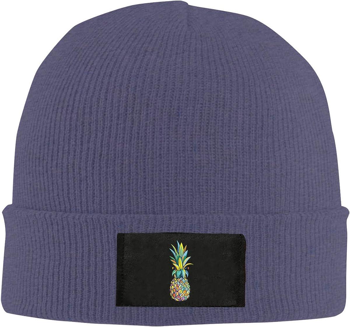 Unisex Stylish Slouch Beanie Hats Black Colorful Pineapple Top Level Beanie Men Women