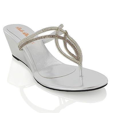 online retailer 95949 0f738 ESSEX GLAM Damen Niedriger Keilabsatz Zehentrenner Sandaletten Strass  Sommer Schuhe