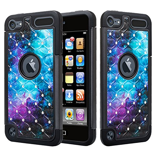 Wydan Studded Diamond Case Compatible for iPod Touch 6th, 5th Generation Case - Rhinestone Bling Hybrid Shock Absorbent Cover - Black Galaxy for iPod Touch 5/6 Gen for Apple