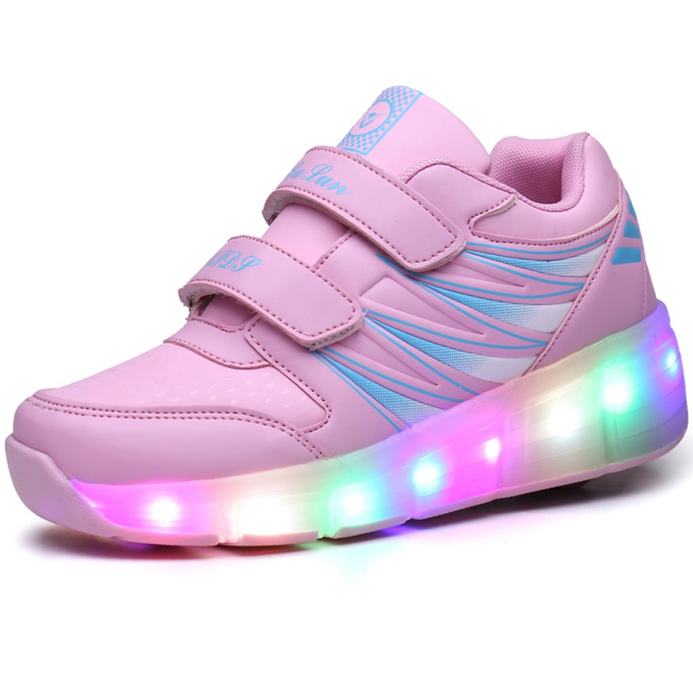 Kids Girls Boys LED Flashing Roller Shoes with Single Wheel/ Double Wheels Skate Sneakers
