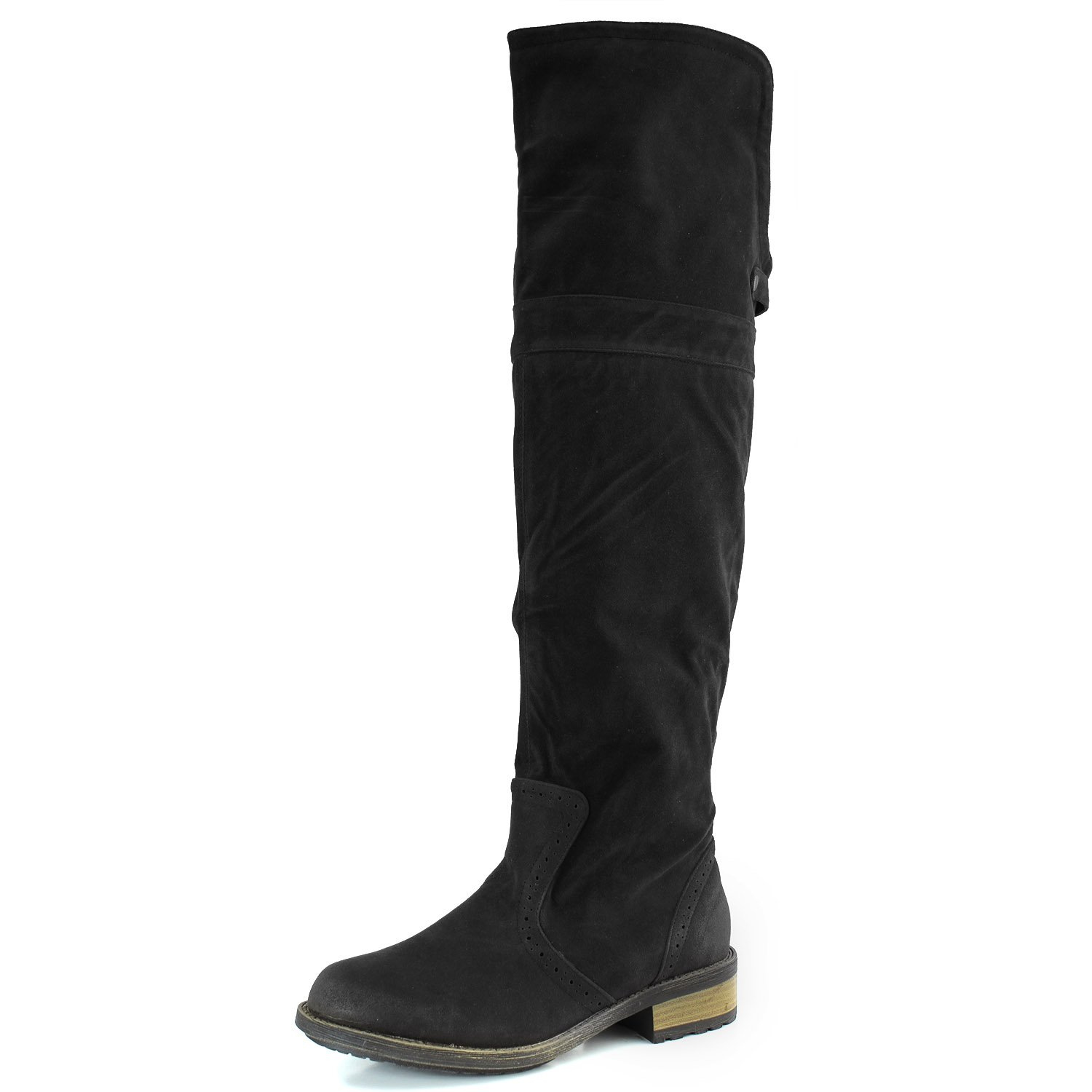 Qupid Women RELAX70 Closed Round Toe Western Flat Low Heel Boots Shoes Brillant Black SV, 6