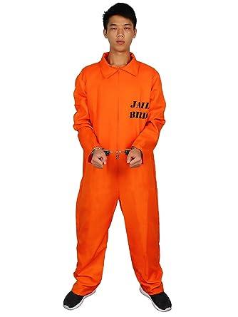 6e3d08e4d475 Evaliana Men Prisoner Convict Costume Halloween Fancy Dress Overalls  Jumpsuit Uniform Sc 1 St Amazon.com