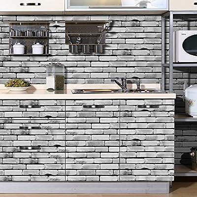 HyFanStr Backsplash Peel & Stick Tile Stickers Brick Wall Effect Wallpaper Self-Adhesive Home Decor (7.87 x 197 inches)