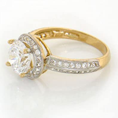 Amazon 14k Solid Yellow Gold Imitation Diamond Engagement