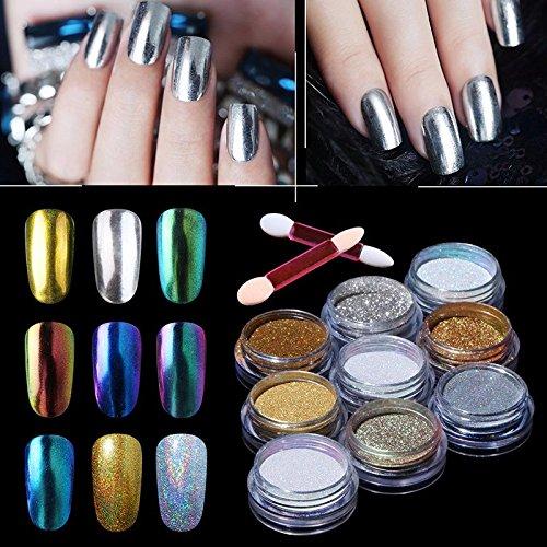 HNM Mirror Powder Nail Glitter Powder Chrome Bling Chamelon Color Change Powder Pigment for Gel Nail Polish Decoration
