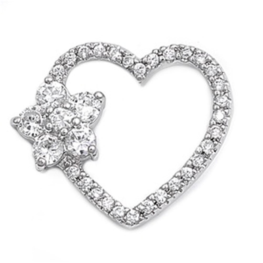 Love Heart Pendant Clear Simulated CZ .925 Sterling Silver Charm