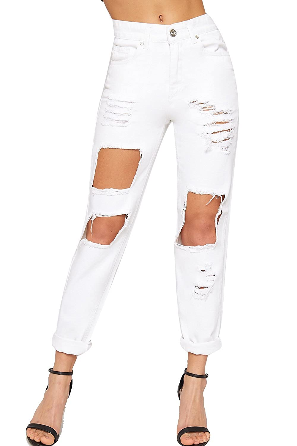 Wear All Women's High Waisted Extreme Ripped Distressed Mom Jeans Pants Trousers by Wear All