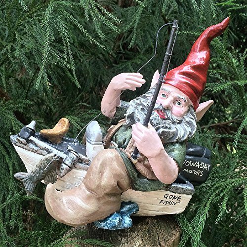 Nowaday Gnomes Fisherman the Gnome in Bass Boat with Fishing Pole Home & Garden Gnome Statue 12