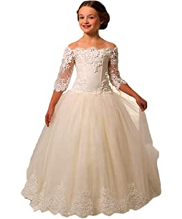 KekeHouse® Flower Girls Dress For Wedding Boat Neck Princess Dress A-line Applique 3