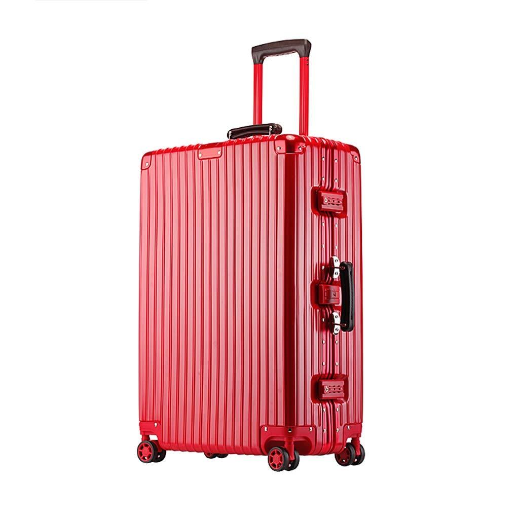 ZHAOSHUHLI スーツケース旅行トロリーケース荷物女性ユニバーサルホイールアルミフレームトロリーケース男性スーツケースパスワードボックスにシャーシ (Color : Red, Size : 22'') B07R1LZRFZ Red 22''