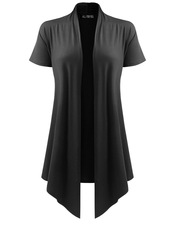 A.F.Y Women's Soft Drape Cardigan Short Sleeve Made In USA