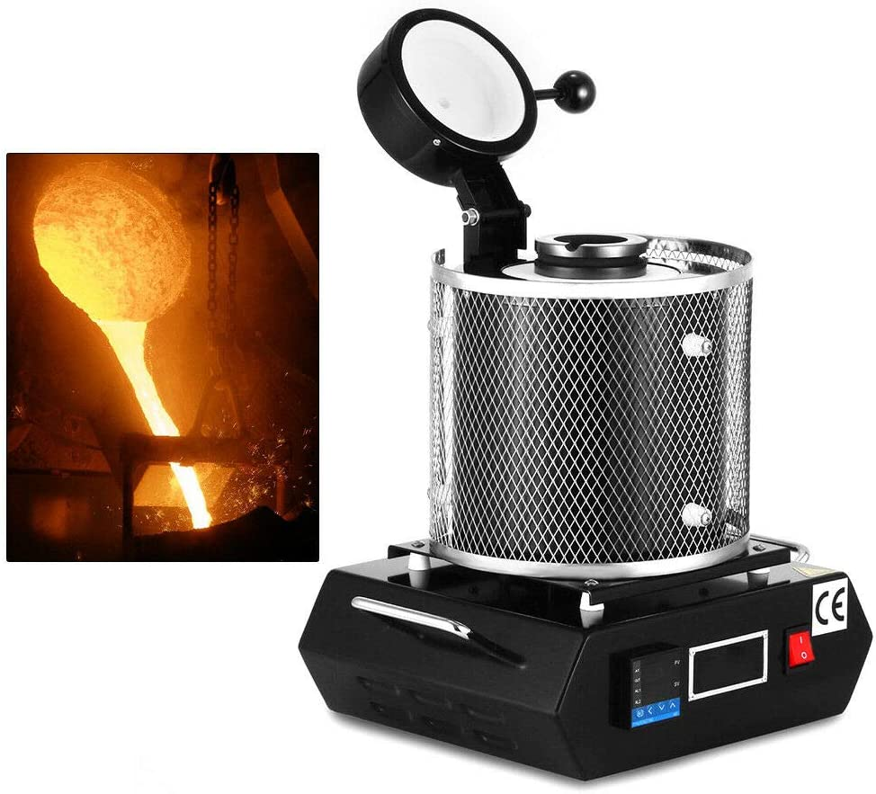 2KG Automatic Digital Gold Melting Furnace Smelting Gold Silver Copper Scrap Metal Recycle w//Melting Tongs 110V US Warehouse