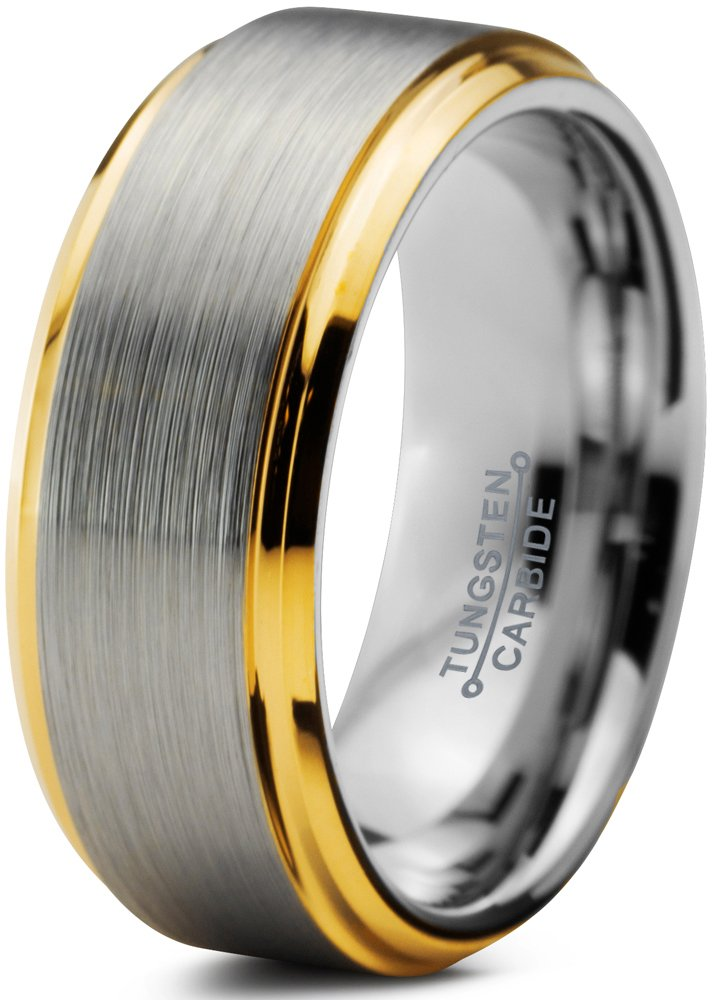 Charming Jewelers Tungsten Wedding Band Ring 8mm Men Women Comfort Fit 18k Yellow Gold Step Edge Brushed Polished Size 7.5