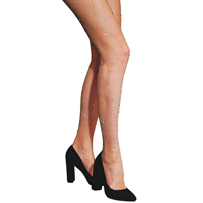 690956be429 FANCAME Women s Sexy Thigh High Fishnet Stockings Crotchless Pantyhose with  Sparkle Rhinestone (Regular