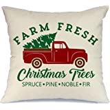 AENEY Christmas Tree and Truck Throw Pillow Cover 18 x 18 for Couch Christmas Decorations Farmhouse Home Decor Christmas Decorative Pillowcase Faux Linen Cushion Case for Sofa