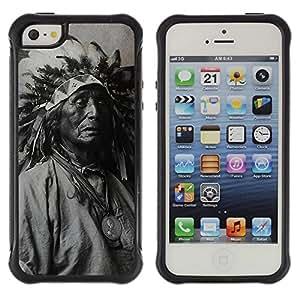 "Pulsar iFace Series Tpu silicona Carcasa Funda Case para Apple iPhone SE / iPhone 5 / iPhone 5S , Plumas fotografía viejo indio nativo Hombre"""