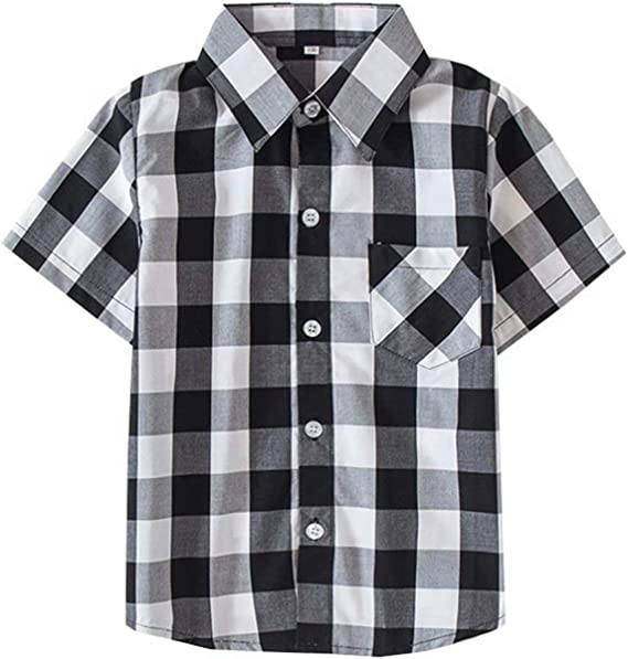 SANGTREE Short Sleeve Plaid Shirt for Boys 2 Years-14 Years