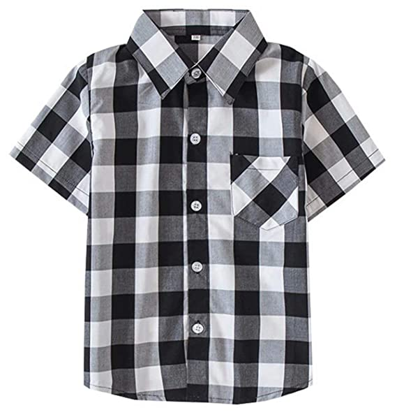 411a8b976fe6e9 Kids Short Sleeves Button Down Plaid Shirt Tops for Toddlers and Little  Boys, Black White