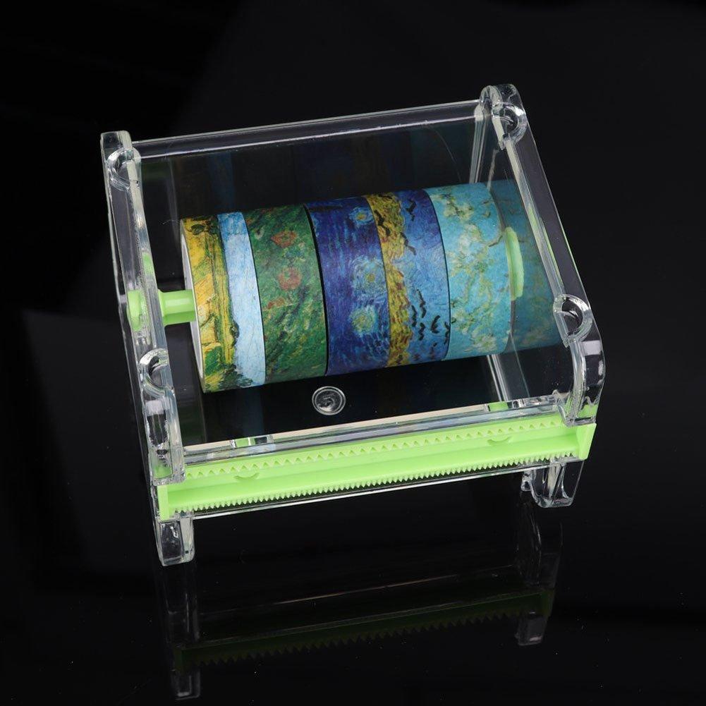 organisateur porte-bande de rouleau 2 pcs HomDSim Washi Tape Dispenser Cutter bande de masquage bureau bande autocollant bricolage rouleau bande de support de coupe coupe stockage vert