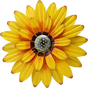 ukjutyvc Metal Sunflower Wall Decor Flower Wall Sculpture Hanging Decor Indoor or Outdoor Yard Wall Art Decorations for Home Bathroom Living Room Bedroom Farmhouse Kitchen 12 Inch (Yellow)